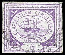 1872, First printing, Steamer 6 pence lilac (transfer type 4), fresh colour and