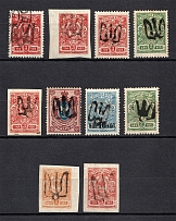 Podolia Type 2 - 18, Ukraine Tridents Group of Stamps (Signed, MH/Canceled)