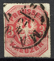 1867 Prussia Germany 3 Kr (Cancelled)