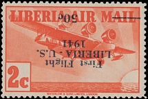 Liberia - Air Post stamps and covers, 1941, Three-Motor Airplane, inverted