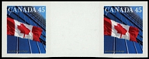 Canada, 1998, Flag over Building, 45c, horizontal imperforated gutter pair