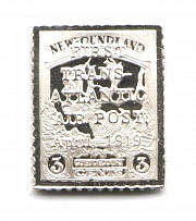 1919 Newfoundland 3 C (Sterling Silver Miniature, Greatest Stamps of The World)