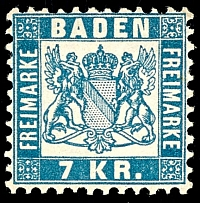 7 kreuzer blue, having bright colors extremely fine copy, mint never hinged,