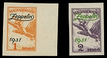 Hungary 1931, ''Zeppelin 1931'' overprint on 1p and 2p, imperf set of two, NH