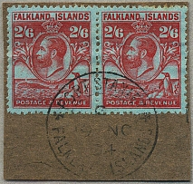 1929, 2 s. 6 d., carmine/blue, pair on piece, used with luxurious PORT STANLEY c
