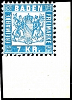 7 kreuzer pale blue, mint never hinged extremely fine copy from corner margin