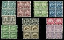 1931, regular issue of rotary press printing, 11c-50c, complete set of ten, perforation 11x10½ or 10½x11, very-well centered blocks of four
