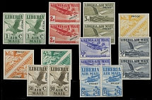 Liberia - Air Post stamps and covers, 1938, Airplanes and Birds, imperforated