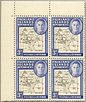 1946, 3 d., black and blue, block of (4), top left corner margin piece, top righ