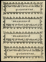 1867, 2nd Issue, black on yellow paper, vertical strip of four with two