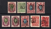 Podolia, Ukraine Tridents Group of Stamps (Signed, MH/Canceled)