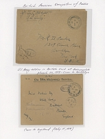 BRITISH-AMERICAN OCCUPATION OF RUSSIA: 1918-20, five items, including two covers from British Military unit at Arkhangelsk, postcard from British Mission in Taganrog and two covers from US Army at Vladivostok