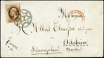 1874, Jefferson 10 c. dark brown, tied by New York Foreign Mail Geometric