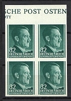 1941 32g General Government, Germany (Control Text, IMPERFORATED, Block of Four, MNH)