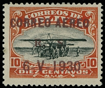 Bolivia 1930, Zeppelin issue, brown overprint on 10c vermilion and black