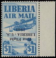 Liberia - Air Post stamps and covers, 1941, Seaplane, inverted black overprint