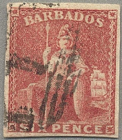1858, 6 d., pale rose red, imperf., no wmk, used parish 1 St. Michael cancel, go
