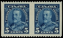 Canada, 1935, King George V Pictorial issue, 5c blue, pair imperf vertically