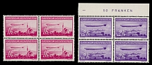 Liechtenstein 1936, Airships, 1fr and 2fr, complete set of two, blocks of 4