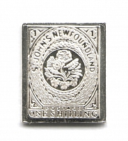 1860 Newfoundland 1 Sh (Sterling Silver Miniature, Greatest Stamps of The World)
