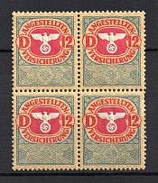 `12` Employee Insurance Revenue Stamps, Germany (Block of Four, MNH)