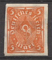 1922-23 Germany Imperf 5 Mark (CV $100, MNH)