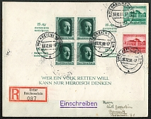 1938 Registered cover with Souvenir Sheet sent to Chemnitz