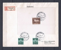 1936 Third Reich registered cover with special postmark and franking souvenir sheet