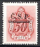 1945 Roznava Slovakia Ukraine CSP Local Overprint 50 Filler (MNH)