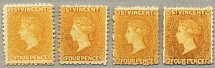 1869, 4 d., yellow, (4), different colour nuances, NG to LPOG, no wmk, perf., 11