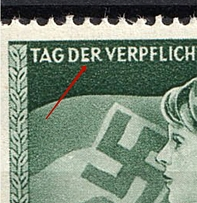 1943 Third Reich, Germany (Mi. 843 IV, `E` in `Der` Thickened, Print Error, Control Number `2,50`, Pair, Full Set, CV $120, MNH)