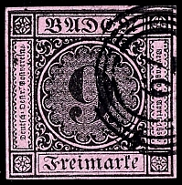 9 kreuzer black on lilac-rose, having full margins and having bright colors