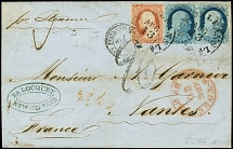 1857, Frankin 1 c. blue, horizontal pair and Washington 3 c. dull red tied by
