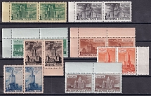 1950. No. 1489II (fig. 32.3x21.9 mm) -1496 in pairs with fields of ideal quality. Borderless catalog for single stamps = 52 800