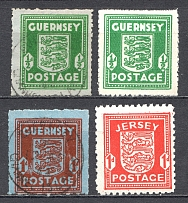 1941-44 Germany Occupation of Guernsey Jersey (CV $220, Cancelled/MH/MNH)