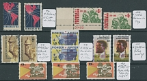 COLOR SHIFT VARIETIES: 1968-87, seven different errors in singles with common stamps included, Football, Space, Movie Projection and etc., nice and colorful group