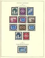 UNITED NATIONS - COLLECTION ON SCOTT PAGES: 1951-66, 172 mint stamps, 172 corner margin inscribed blocks of four, 3 souvenir sheets and 17 postal stationery items, practically complete for the period