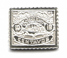 1925 Honduras 25 C (Sterling Silver Miniature, Greatest Stamps of The World)