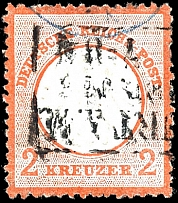 2 Kr. Reddish orange, complete rough perforation, tied by three lines frame