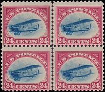 AIR POST STAMPS: 1918, Curtiss Jenny, 24c carmine rose and blue, central line block of four, full OG, NH and fine
