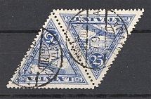 1928 Latvia Airmail Cancellation Latvia Pair Tete-Beche 25 S