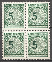 1923 Germany Block of Four 5 Pf (Shifted Value, Print Error, MNH)