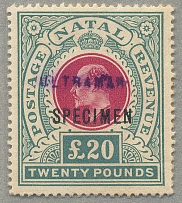 1902, £ 20, red and green, from the Portuguese Postal Archive with opt SPECIMEN
