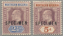 1902, 2 1/2 d. - 5 d., with black SPECIMEN opt., LPOG, both stamps with BROKEN M