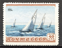 1954 USSR Sport in the USSR 1 Rub (Print Error, Shifted Background)