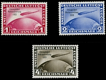Germany 1933, Zeppelin Chicago Flight, 1m, 2m and 4m, complete set of 3, NH/LH