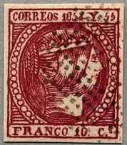 1854, 10 C., carmine, used, Sperati FORGERY (central stroke of F is weak, dot