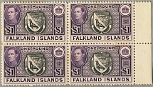 1938, 1 £, black and violet, block of (4), right margin piece, ALL MNH, wmk Mult
