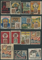 1923-27, 37 mostly used labels bearing definitive stamps, representing