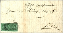 3 Kr. Black on green, horizontal pair on correctly franked folded letter from